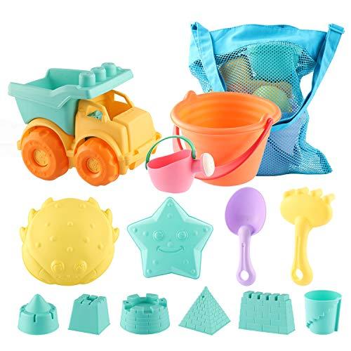 SHANNA Juguetes de Playa para niños Bebes,Set de Juguetes de Arena para Playa al Aire Libre con Coche Cangilón Moldes de Castillo y Bolsa de Malla de Material plástico Blando (13 Piezas)