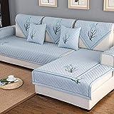 YLCJ Sofabezug aus bestickter Baumwolle, 1 Stück, 3-Sitzer-Sofabezug mit Halbinsel-Sofabezug für rutschfeste Tiere, Blau, 1Stück90 * 240 cm