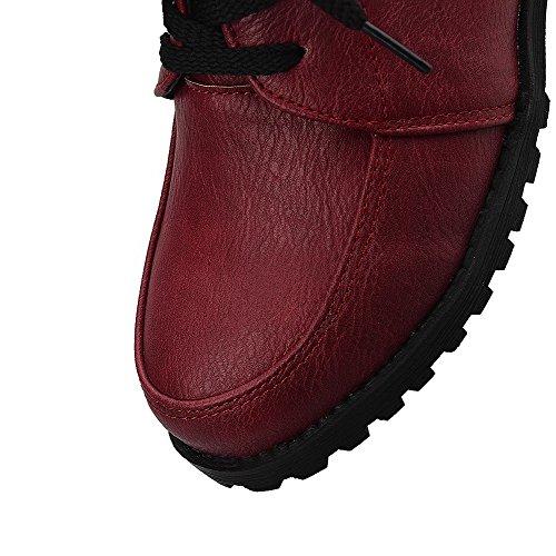 AllhqFashion Femme Lacet Rond à Talon Bas Couleur Unie Chaussures Légeres Rouge