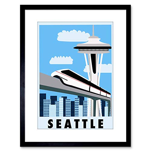 9x7 '' TRAVEL Seattle Washington Monorail Space Needle Framed Art Print F97X1432 - Monorail, Space Needle