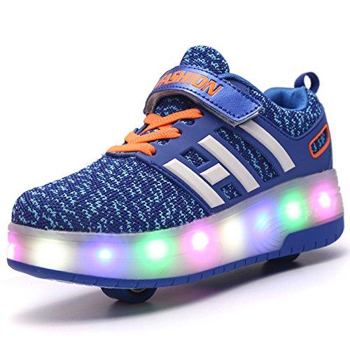 Unisex Schuhe mit Rollen Kinder Skateboard Schuhe Rollschuh Schuhe LED Light Wheels Sneakers Outdoor-Trainer für Junge Mädchen (32 EU, Zwei Räder/blau)
