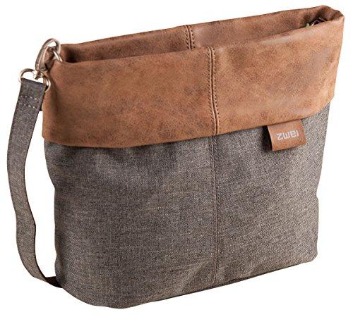 ZWEI Olli OT8 Tasche Damen Umhängetasche Schultertasche 25x23x10 cm (BxHxT), Farbe:, Stone (Grau / Braun), One size