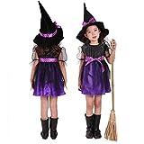 Fuman Hexenkostüm für Kinder Halloween Weihnachten Kostüm Mädchen Hexenkleid und Hut