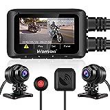WonVon WonVon DashCamera 2.7' LCD Schermo Moto Motociclo WiFi Dual Obiettivo Anteriore e Posteriore GPS Visione Notturna, sensore G, 256 GB