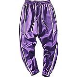 Tasty Life Herren Sporthosen Hip Hop Street Wear Seitenstreifen Design Monochrome Freizeithosen Elastischer Bund Und Kordelzug Lila Jogginghose(XL,Purple)