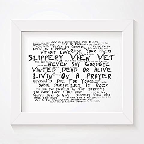 `Noir Paranoiac` Art Print - BON JOVI - Slippery When Wet - Signed & Numbered Limited Edition Typography Unframed 25 x 20 cm (10 x 8 inch) Album Wall Art Print - Song Lyrics Mini Poster