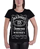 Jack Daniels Classic Logo offiziell damen Nue Schwarz Skinny Fit Zipped Back Top
