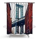 Daesar Polyester-Stoff Duschvorhang Anti-Schimmel Landschaft 3D Duschvorhang Polyester-Stoff Vintage 150x180 cm