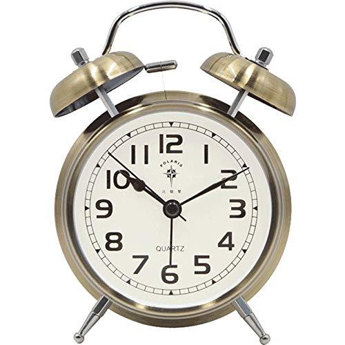 ASDFGHJKL Doppelglockenwecker,Analog Wecker,kein Ticken,geräuschlos Wecker Kinder Bett stumm Metall mechanische Glocke elektronischer Wecker Bronze -