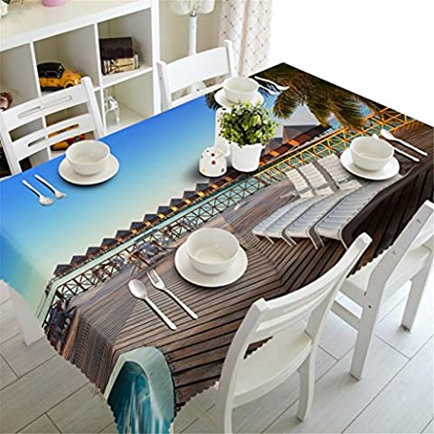 Dbtxwd 3D Tablecloth Polyester Seaside leisure place Printing Tasteless Thickened Dust-proof Kitchen Table Top Cover ,