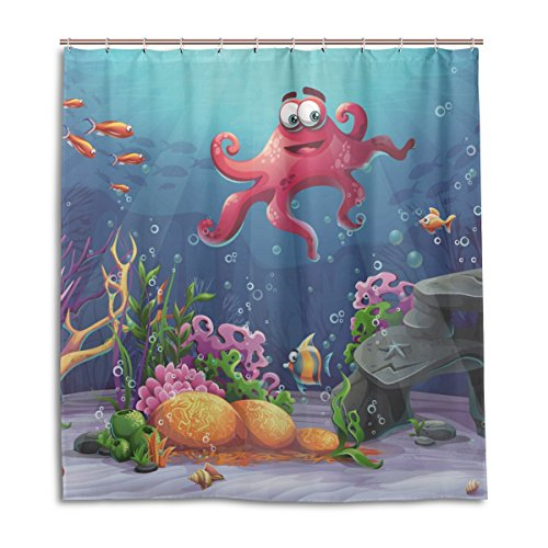 jstel Decor Vorhang für die Dusche Octopus Coral und bunte Reefs Algen Sand Muster Print 100% Polyester Stoff 167,6x 182,9cm für Home Badezimmer Deko Dusche Bad Vorhänge mit Kunststoff Haken (Coral Reef Duschvorhang)