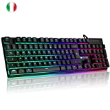 LUIBOR Tastiera Gaming, Filo Gaming RGB Tastiera con Luce LED 25 Tasti Anti-ghosting Italiano Tastiera da Gioco per Laptop, PC etc.