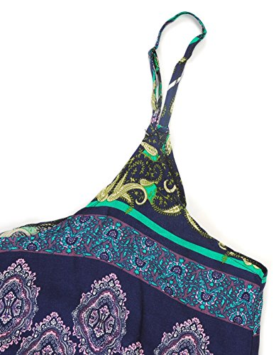 OOFIT Damen Sommerkleid lange V-Ausschnitt Swing Maxi Oversize Party Strandkleid, Gr.M-XXL(EU.34-42) 1