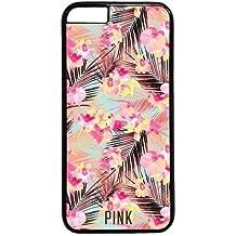 Victoria 's Secret Para iPhone 6Plus, diseño de flores, color rosa serie de PC Negro Funda para iPhone 65.5pulgadas (C)