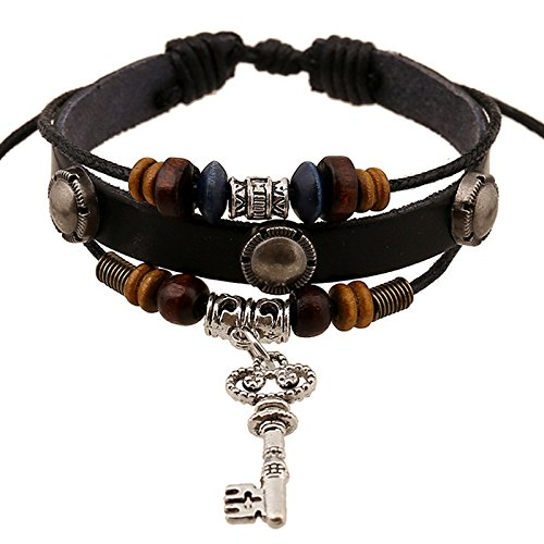 SNHWARE Bracelet Circle Lederarmband Armband Für Unisex Multi Stränge Einstellbare Armbänder Stammes Geflochtene Seil Perlen Nietenkette Schlüsselanhänger