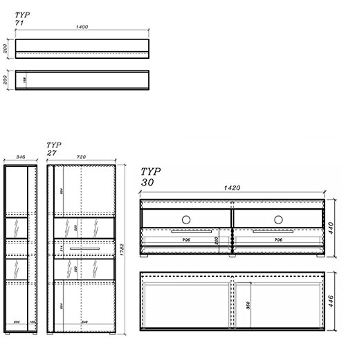 Wohnwand Anbauwand 440905 weiß / weiß Hochglanz 3-teilig - 2