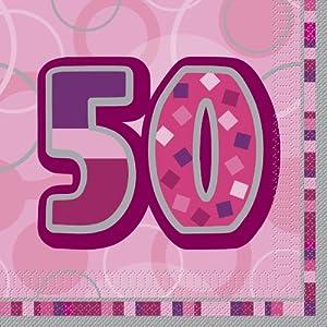 Unique Party- Paquete de 16 servilletas de Papel cumpleaños, Color rosa, edad 50 (28442)