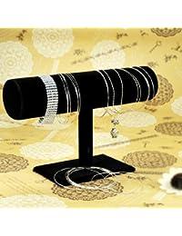 Imanjie Présentoir en forme de T en velours pour bracelets et montres Noir