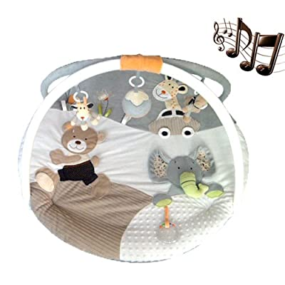 MiniDream Baby Jumbo Round Playmat Activity Gym Music Play Mat