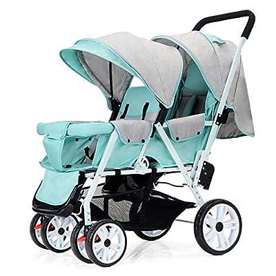 zxmpfg Cochecitos de bebé gemelos, conveniencia de viaje plegable ligera y pequeña, asiento reclinable multifunción delantero y trasero, carrito para niños, recién nacido disponible