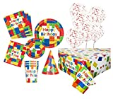 Unique Party 80526 Bausteine Party Supplies Kit für 8