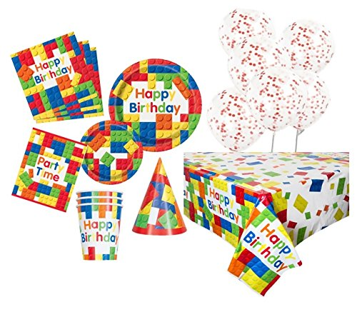 Unique Party 80526 Bausteine Party Supplies Kit für 8 (Lego Supplies Geburtstags-party)