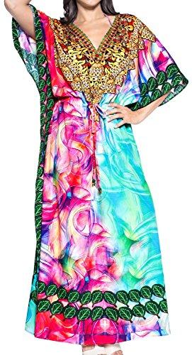 LA LEELA Damen Überdimensional Maxi Kimono Kaftan Tunika Kaftan Damen Top Freie Größe StrandKleider In 11 verschiedenen Farben Pinke Rose