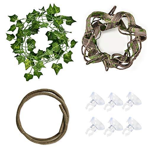 Furpaw Terrarium Kletterpflanzen, 3 Stück Künstliche Pflanze Weinrebe Saugnapf Dekoration Reptilien Transportbox, Plastikpflanzen Terrarium Zubehör
