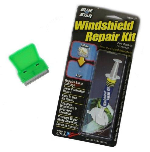 Preisvergleich Produktbild Bundle–2Artikel–1blue-star Windschutzscheibe Reparatur Kit + 1Mini Schaber (Farbe: sortiert/Metall oder Kunststoff Klinge)