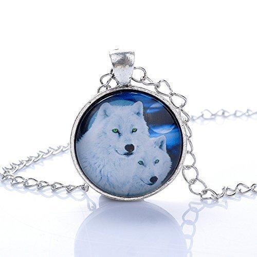 lureme Zeit gem Serie Silberton-Kette der weiße Wolf Familie Disc Charme Kette für Mädchen und Frauen (01002583)