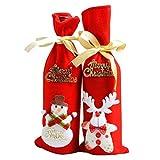 nabati 1Weihnachten rot Wein Flasche, Staubbeutel Frohe Weihnachten Karten ribbin Radzierblenden Rentier Schneemann Aufnäher in zufälliger Senden, indem