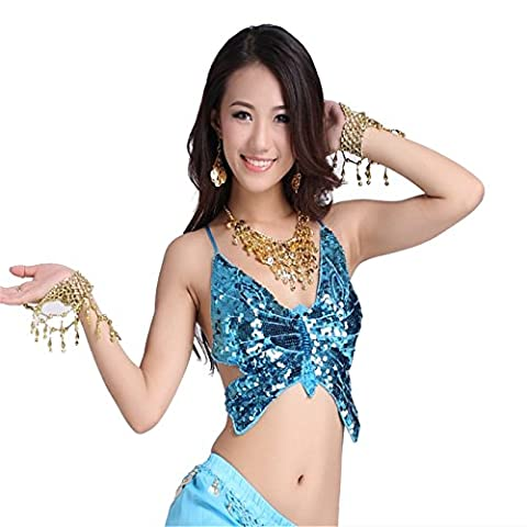 Women Sexy Dance Tops Belly Dance Costume Butterfly Sequins Halter Bra Top Dancewear Belly Tops