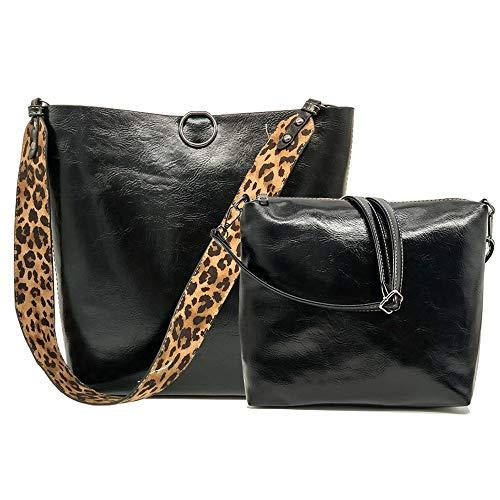 Segater Damen Handtasche aus Leder, Leopardenmuster, Tragegriff, 2 Stück, Schwarz (schwarz), Large