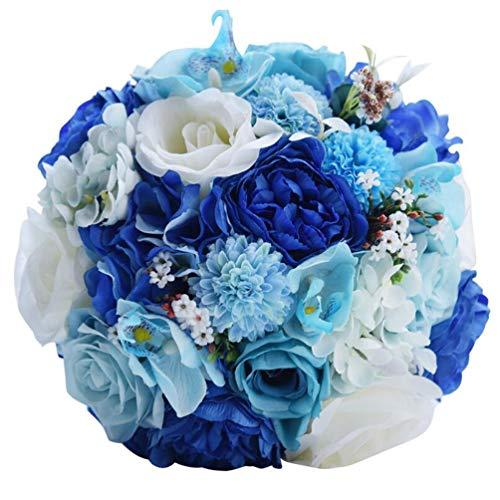 FLOWERSMY Wedding Supplies Blau und Weiß Rose Holdingblumen Braut Hand, die Blumenstrauß hält, 01, 20 * 28cm