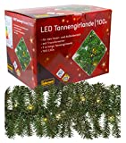 Idena 31814 LED Tannengirlande mit 100 LED warm weiß, mit 8 Stunden Timer Funktion, für Advent, Weihnachten, Deko, als Stimmungslicht, ca. 25 cm x 5 m