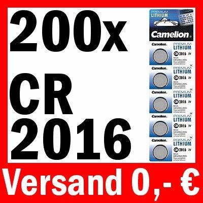 200 x CAMELION cR2016 pILE bOUTON lITHIUM 5000LC