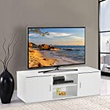 LANGRIA TV Stand with 2 Doors, 2-Tier Open Shelf and Ample Flat Surface, Contemporary Living Room Widescreen Storage System Unit for Living Room, Bedroom or Den (120x40x40cm), White
