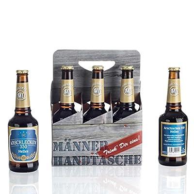 6-Pack Arschlecken 350 Helles in Männerhandtasche, Sixpack Bavarian Beer 0,33 l, 5,2 % vol