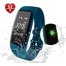 GULAKI Fitness Tracker Pulsera Inteligente Monitor de Pulso Cardiaco Bluetooth Pulsera Inteligente Deporte Actividad Tracker con Contador de Calorias/Monitor de Sueño/Contador de Pasos/Reloj,Compatibl (Blue)