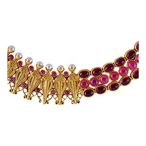 WHP Jewellers 22KT Yellow Gold and Ruby Kundan Choker Necklace for Women
