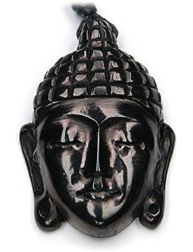 Buddha Kopf Schmuck aus Horn, Kette von Hand geschnitzt , inkl. schwarzem Textilband, 4cm lang