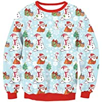 FOOBRTOPOO Novedad Navidad Tops de Navidad Imprimir Jersey Blusa Cuello Redondo Sudadera Navidad O-Cuello Otoño Invierno Casual Manga Larga Sport Jumper-XL (Color : Colorful, tamaño : XL)