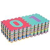 HOMCOM Puzzlematte Spielmatte Spielteppich Puzzle Zahlen Symbole 36 Stück