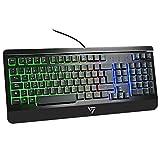 VICTSING Teclado Gaming Español USB, LED Multicolores Rainbow Retroiluminación y Panel Completamente...
