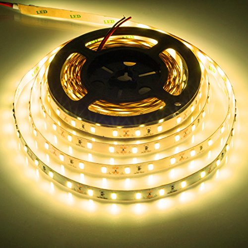 BTF-LIGHTING 16.4ft blanco calido SMD5630 led tira 300LEDs DC12V Warm White No impermeable 25Lm/LED, más brillante que 5050