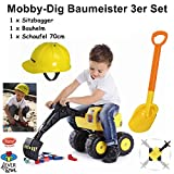 4everspiel/Gowi Mobby-Dig Baumeister 3er Set/Sitzbagger + Bauhelm + Schaufel