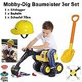 Mobby-Dig Baumeister 3er Set / Sitzbagger + Bauhelm + Schaufel