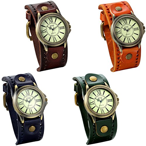 jewelrywe-lot-of-4-wholesale-vintage-leather-strap-wide-band-wristwatch-cuff-quartz-watches-for-men