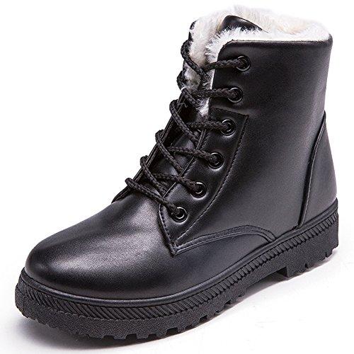 Eagsouni® Damen Winterstiefel Worker Boots Gefüttert Stiefeletten Winter Warme Schnür Martin Stiefel Schuhe Leder Combat Boots (Frauen All-wetter-stiefel)