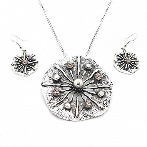 Image of 1 Kette + Ohrringe Schmuckset Halskette Set Damen Damenschmuck Vintage Look Perle Strasssteine Weiß Blume Rund
